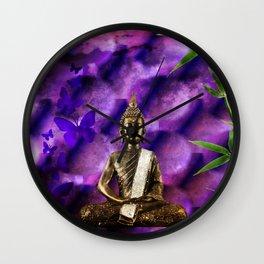 purple Buddha Wall Clock