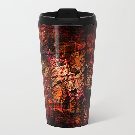 Compelling, Abstract Landscape Art Lines Swirls Metal Travel Mug