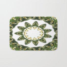 Little White Wildflower Kaleidoscope Art 5 Bath Mat