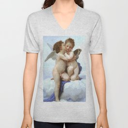 """William-Adolphe Bouguereau """"First Kiss (L'Amour et Psyché, enfants)"""" Unisex V-Neck"""