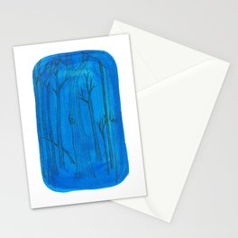 trees on phthalo blue #1 Stationery Cards