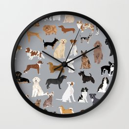 Mixed Dog lots of dogs dog lovers rescue dog art print pattern grey poodle shepherd akita corgi Wall Clock