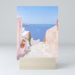 Santorini Greece Mamma Mia pink street travel photography Mini Art Print