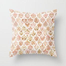 PAISLEY MERMAID Rose Gold Fish Scales Throw Pillow