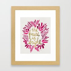 The Future is Bright – Pink & Gold Framed Art Print