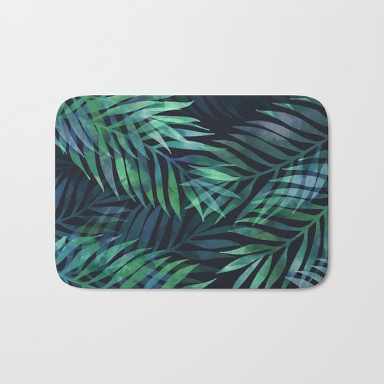Dark green palms leaves pattern Bath Mat