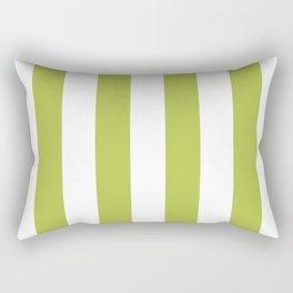 Avocado Green and White Vertical Cabana Tent Stripes Rectangular Pillow