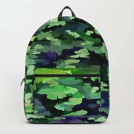 Foliage Abstract Camouflage In Forest Green and Black Backpack