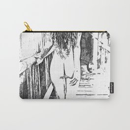 Girl at the bridge, sexy nude woman outdoors, erotic under waterfall, adult black and white artwork Carry-All Pouch