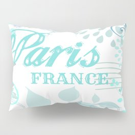 Paris France Blue French Vintage Style Print Pillow Sham