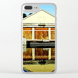 Reflections of a old boat Shed Clear iPhone Case