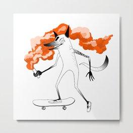 Fox Skateboarder Red Metal Print