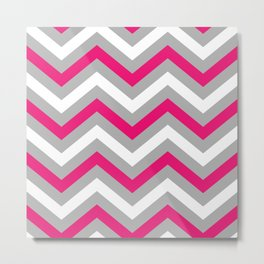 Pink and Grey Chevron  Metal Print