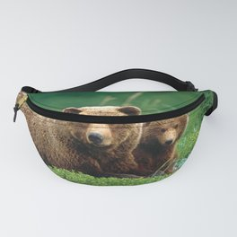 Spectecular Grizzly Bear Mother With Adorable Two Cubs In Meadow Ultra HD Fanny Pack