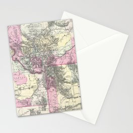 Vintage Map of Montana, Wyoming and Idaho (1884) Stationery Cards