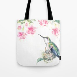Guardian - watercolor hummingbird with nest Tote Bag