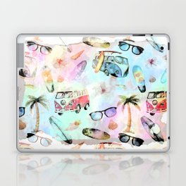 Beach time- Tropical summer watercolor pattern Laptop & iPad Skin