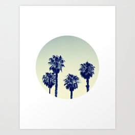 retro palm trees Art Print