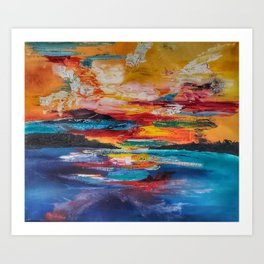 Haze for Days - abstract oil painting Art Print