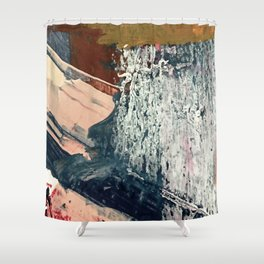 Kelly [2]: a bold, textured, abstract mixed media piece in fall colors/ blue, burnt sienna, ochre Shower Curtain