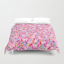 Pink Donut with Sprinkles Duvet Cover