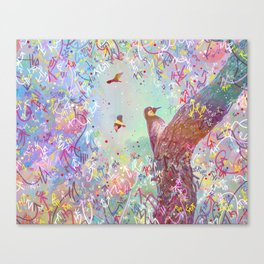 Curious Woodpecker and Friends Canvas Print