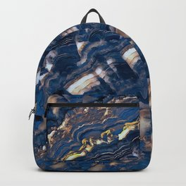 Blue marble with Golden streaks Backpack