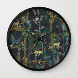 Tropical wild animals in the jungle Wall Clock