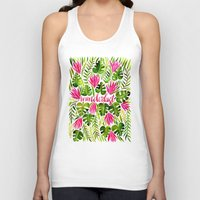lime Tank Tops featuring Tropical Wanderlust – Pink & Lime by Cat Coquillette