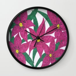 Ultra Violet Lily Bouquet Wall Clock