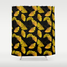 Ginkgo Leaf (Fall) - Black Shower Curtain