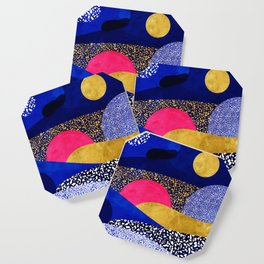 Terrazzo galaxy blue night yellow gold pink Coaster