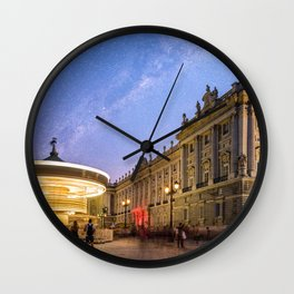 Royal Palace and carousel in Oriente Square, Madrid Wall Clock