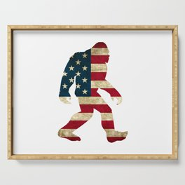Bigfoot american flag Serving Tray