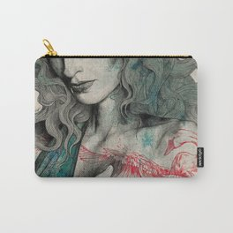 SGNL>05 (seminude street art portrait, topless lady with swan tattoo) Carry-All Pouch