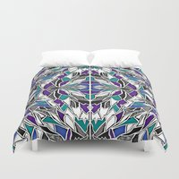 comic book Duvet Covers featuring Jewel Tone Comic Book by JessicaR