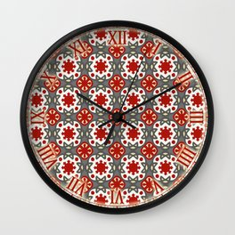 V12 Red Traditional Moroccan Rug Pattern. Wall Clock