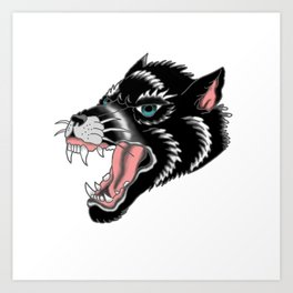 Traditional Wolf Tattoo Art Print
