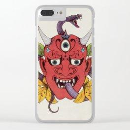 Hannya Oni Japanese Demon Tattoo Mask Clear iPhone Case