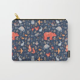 Fairy-tale forest. Fox, bear, raccoon, owls, rabbits, flowers and herbs on a blue background. Seamle Carry-All Pouch