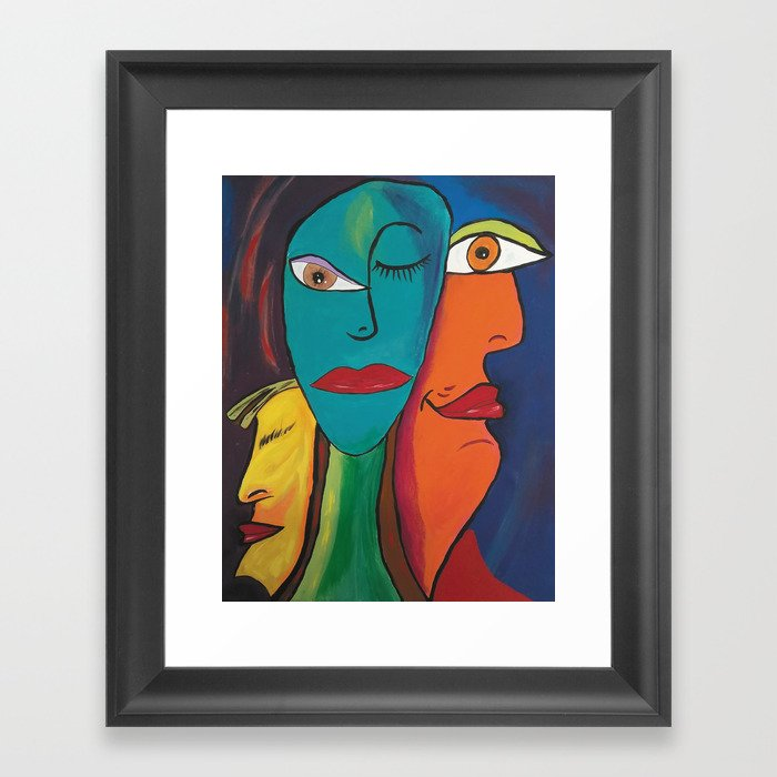 Picasso Inspired Abstract Faces Framed Art Print By Lynnlewis