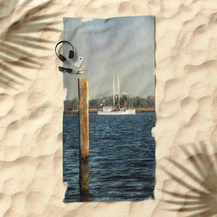 Shrimp Boat Beach Towel