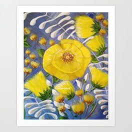 Yellow Bloom, Yellow Abstract Flowers, Yellow and Blue, Floral Prints, Modern Floral Art Print