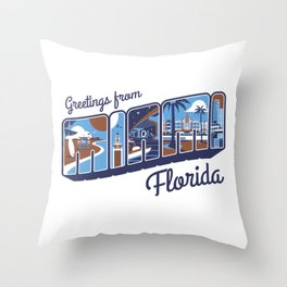 Greeting from Miami Florida (special color edtition) Throw Pillow