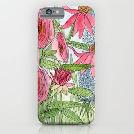 Summer Flowers Watercolor  iPhone Case
