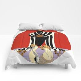 """Art Deco Illustration """"Monaco Fashion"""" Comforters"""