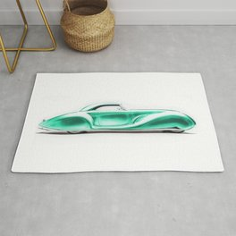 Vintage 1934 teal green Packard Eight 2/4-Passenger Coupe Rug