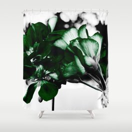 Green Flowers In Bloom:  Pop of Color Shower Curtain