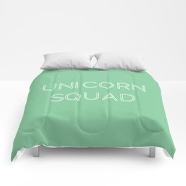 Unicorn Squad - Mint Green and White Comforters