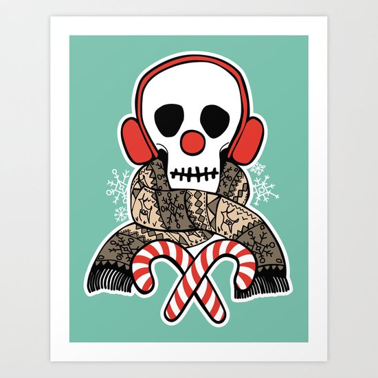 Stay Warm Holiday Skull Art Print